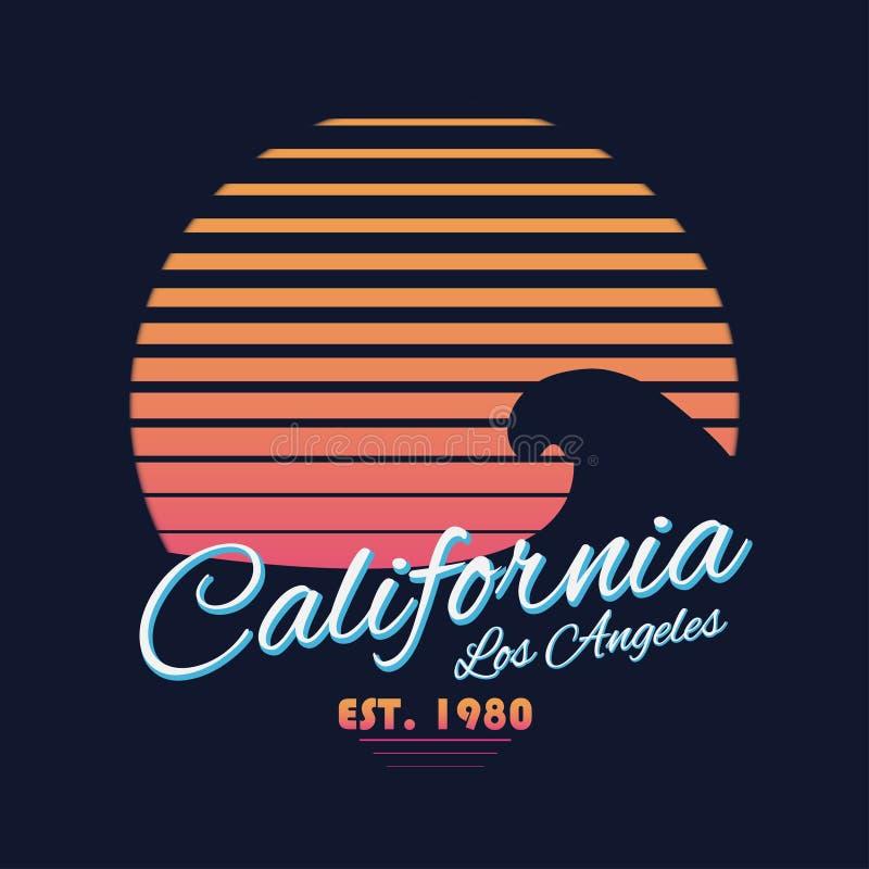 tipografia de Califórnia do vintage do estilo 80s Gráficos retros do t-shirt com cena tropical e onda do paraíso ilustração stock