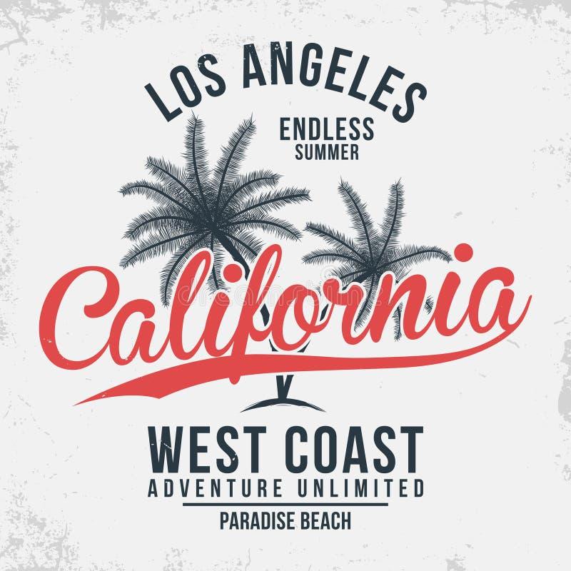 Tipografia de Califórnia, Los Angeles Gráficos do t-shirt com palmas tropicas ilustração do vetor