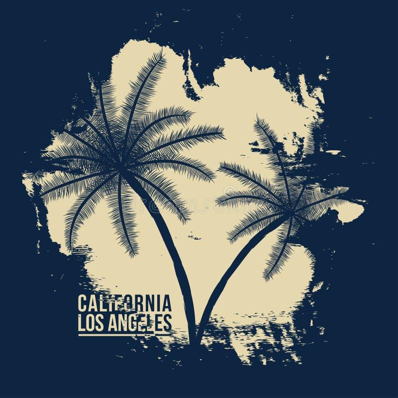 Tipografia de Califórnia, Los Angeles Gráficos do t-shirt com palmas tropicas ilustração royalty free