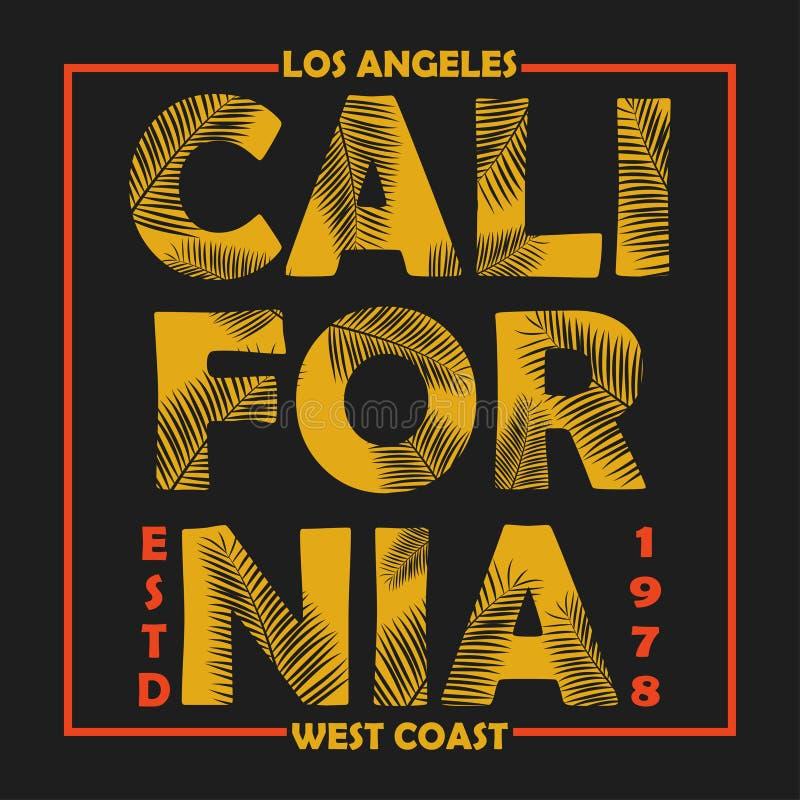 A tipografia de Califórnia, Los Angeles para o projeto veste-se, t-shirt com folhas de palmeira Gráficos para o produto da cópia, ilustração do vetor