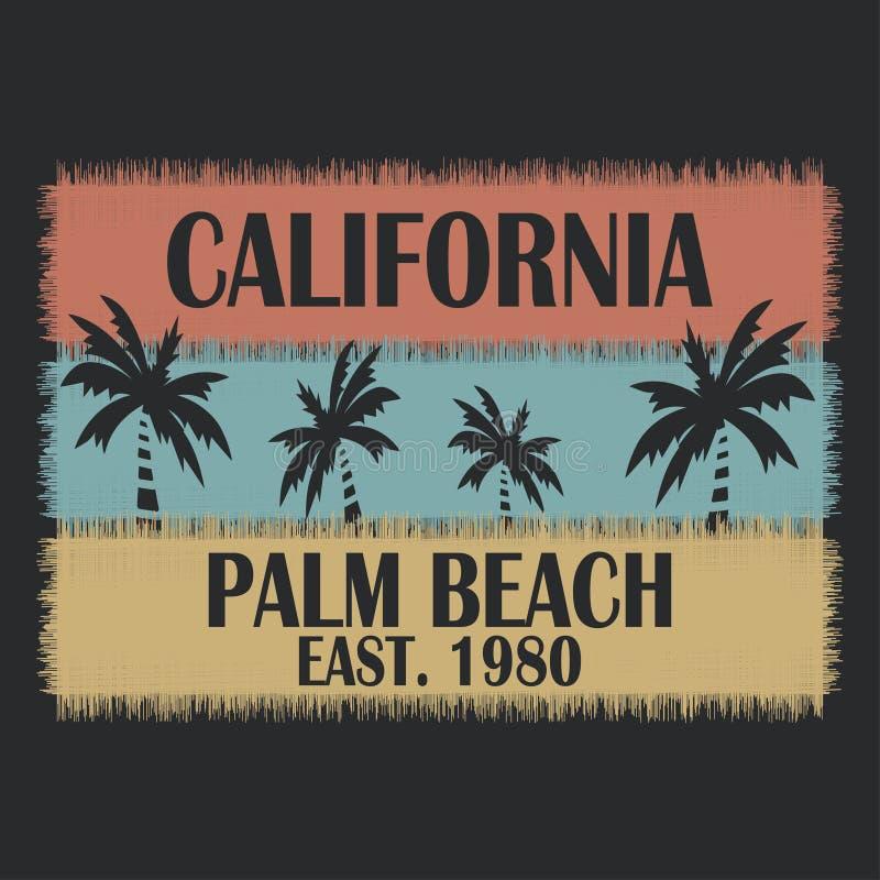 A tipografia de Califórnia para o projeto veste-se, t-shirt, fato Palm Beach ilustração royalty free