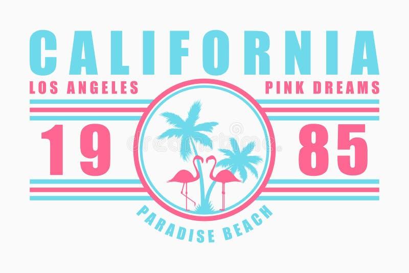 Tipografia de Califórnia para o t-shirt com slogan Gráficos da forma de Los Angeles com palmeira e flamingo para a roupa do proje ilustração royalty free