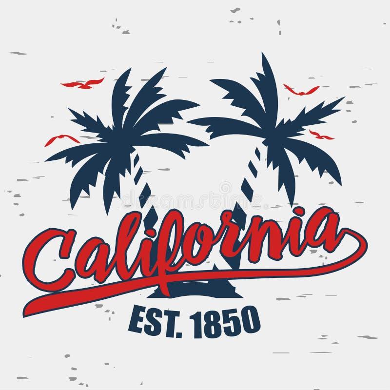 Tipografia de Califórnia para a roupa do projeto Ilustração do vetor ilustração stock