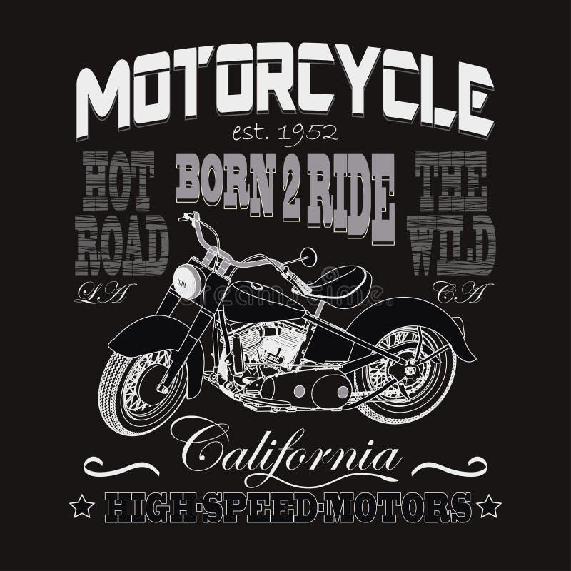 Tipografia de competência da motocicleta, motores de Califórnia ilustração do vetor