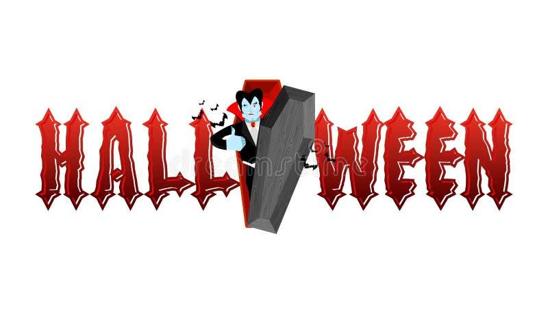 Tipografia de Dia das Bruxas Dracula em seu caixão Logotipo para o holi assustador ilustração stock