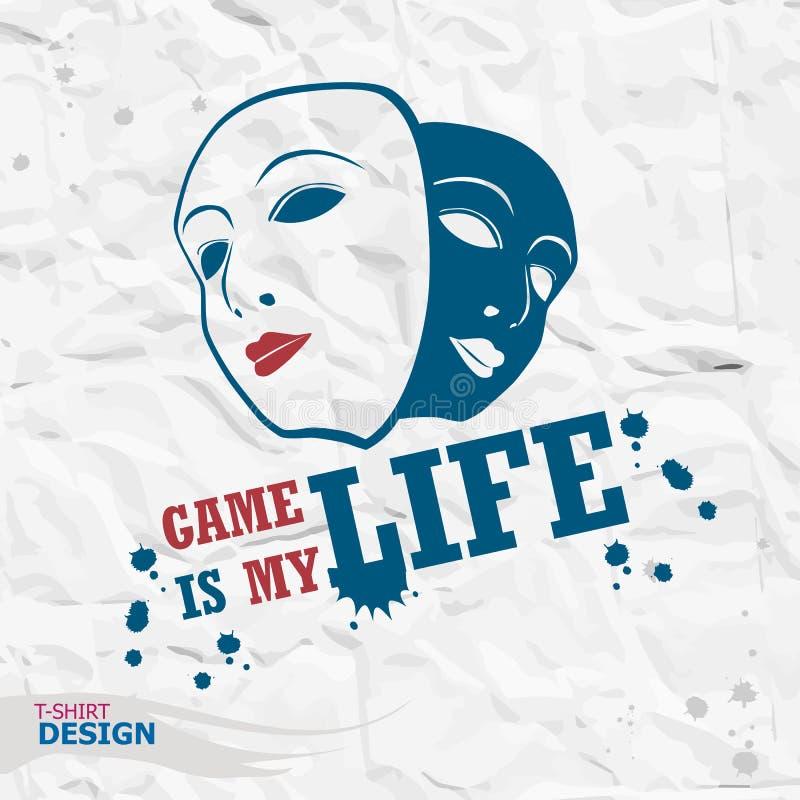 Tipografia de Geme, gráficos do t-shirt O jogo é minha vida imagens de stock