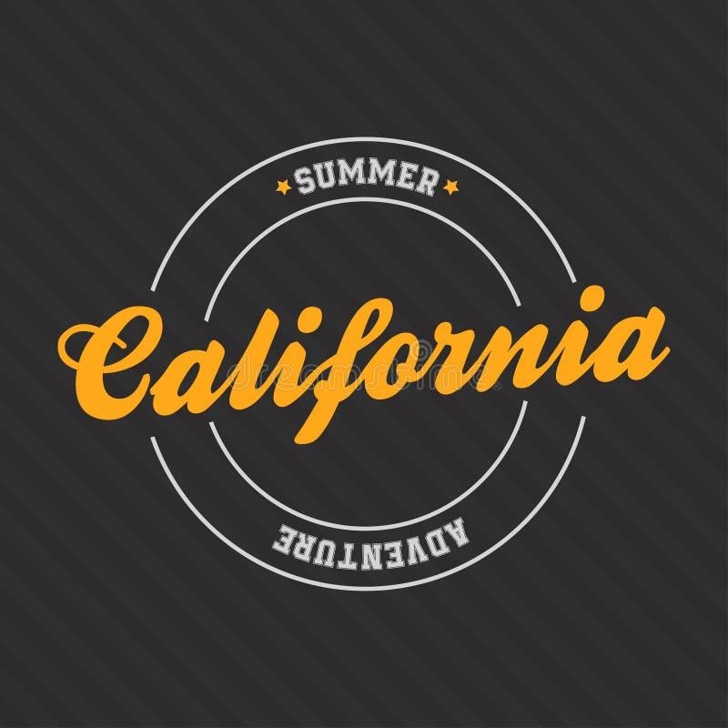 Tipografia de Los Angeles, Califórnia para a cópia do t-shirt Aventura do verão ilustração royalty free