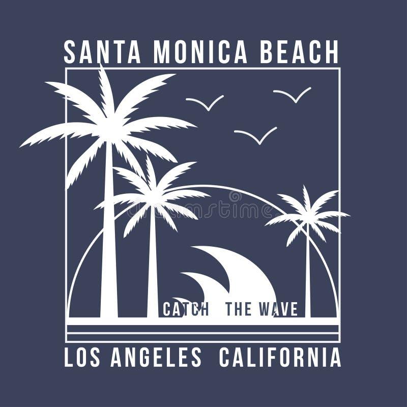 Tipografia de Los Angeles, Califórnia para o t-shirt Projeto do verão Gráfico do t-shirt com palmas tropicas ilustração stock