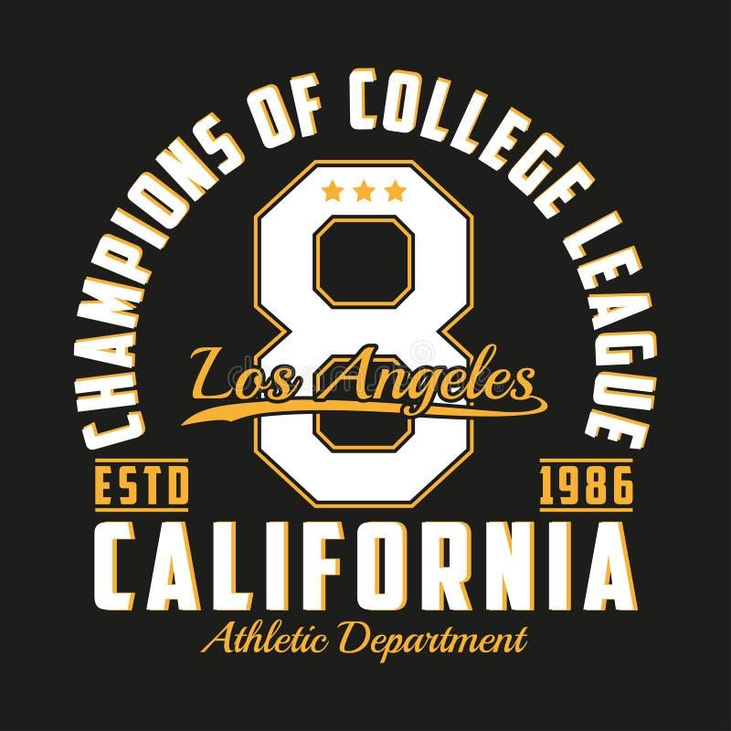 Tipografia de Los Angeles, Califórnia para a roupa do projeto Gráficos para o produto da cópia, t-shirt do número, fato do esport ilustração do vetor