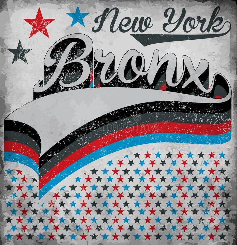 Tipografia de New York Bronx da faculdade, gráficos do t-shirt, vetores ilustração do vetor