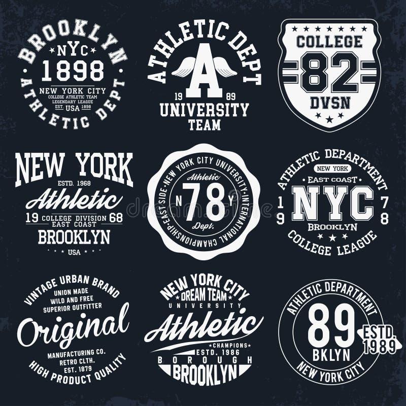 A tipografia de New York, Brooklyn, crachás ajustados para o t-shirt imprime Gráficos do t-shirt do estilo do time do colégio ilustração stock