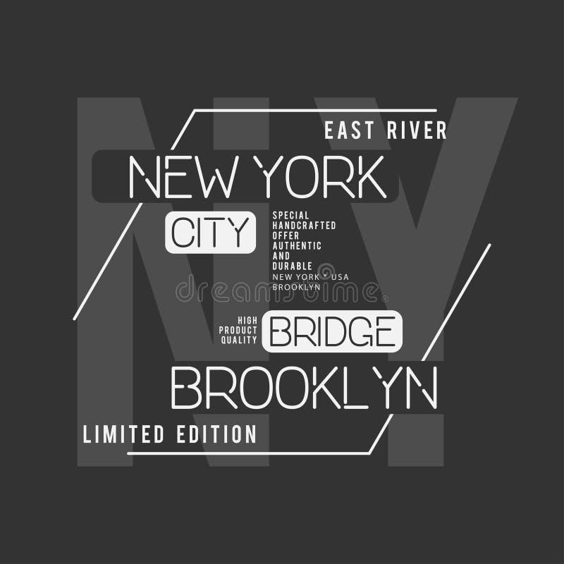 Tipografia de New York, Brooklyn Gráficos do t-shirt ilustração stock