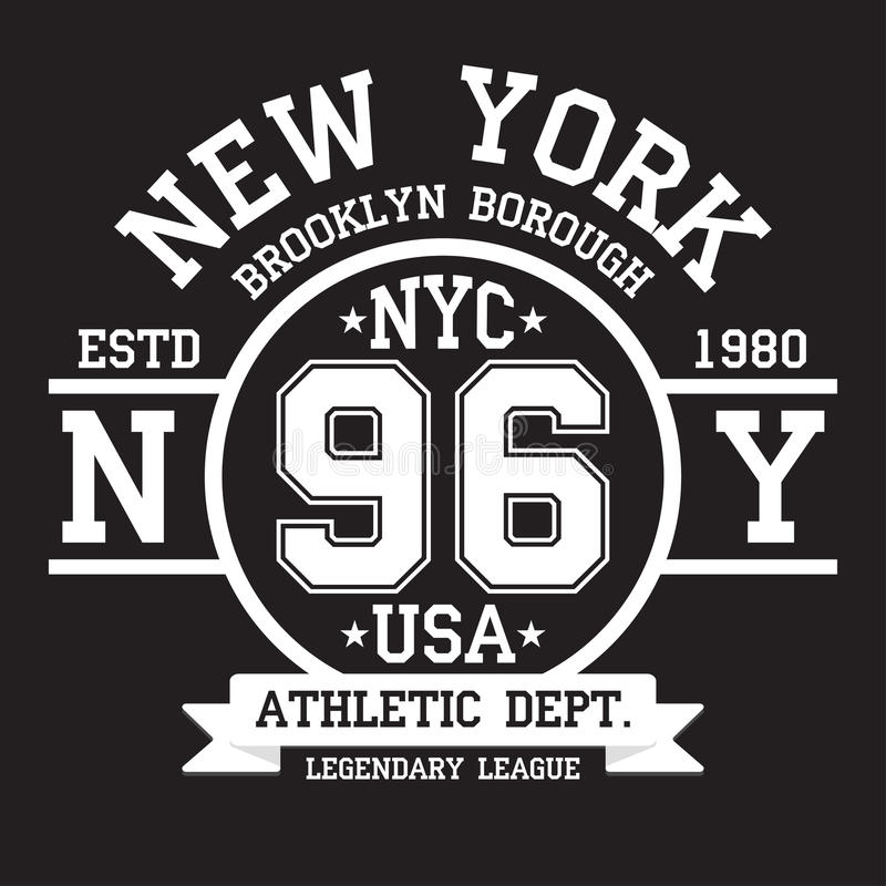 Tipografia de New York, Brooklyn para a cópia do t-shirt Esportes, gráficos atléticos do t-shirt ilustração do vetor