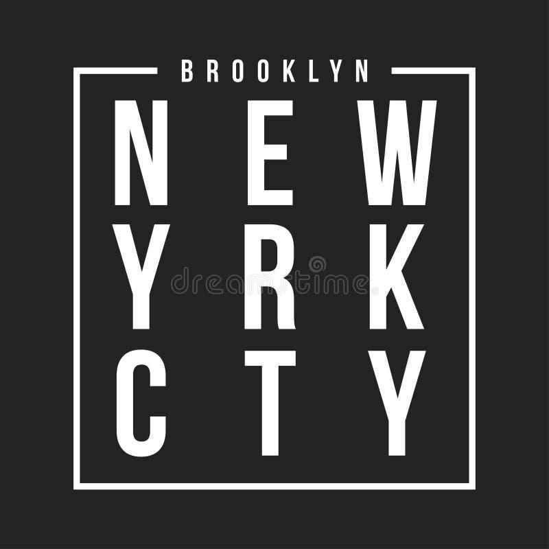Tipografia de New York, Brooklyn para a cópia do t-shirt Remendo atlético para o gráfico do T Projeto do t-shirt ilustração stock