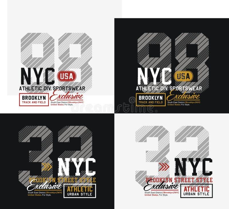 Tipografia de New York City Brooklyn do esporte atlético para a cópia da camisa de t ilustração stock