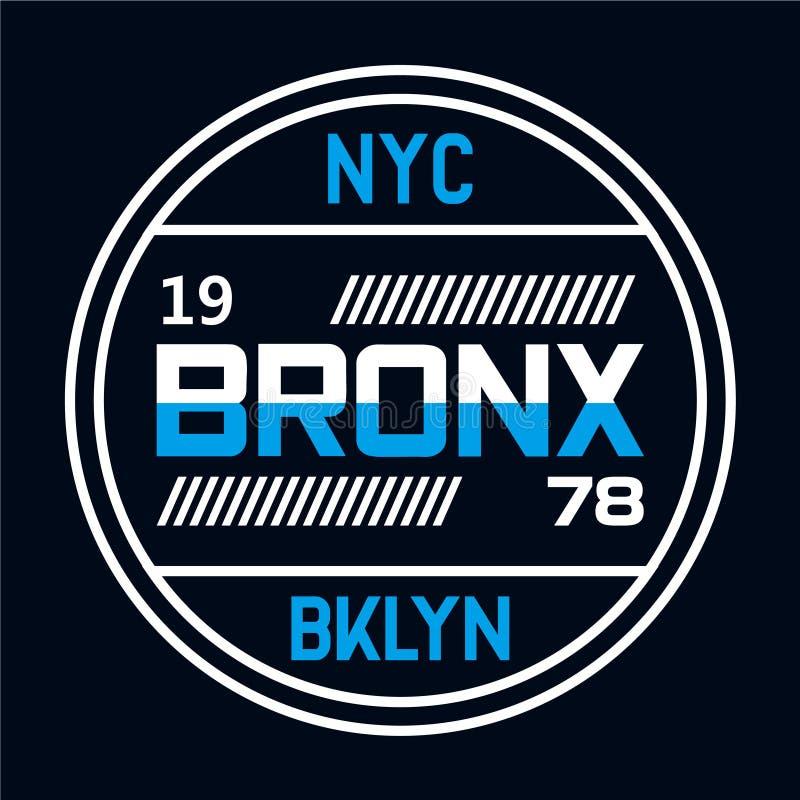 Tipografia de New York City, gráficos do t-shirt ilustração do vetor