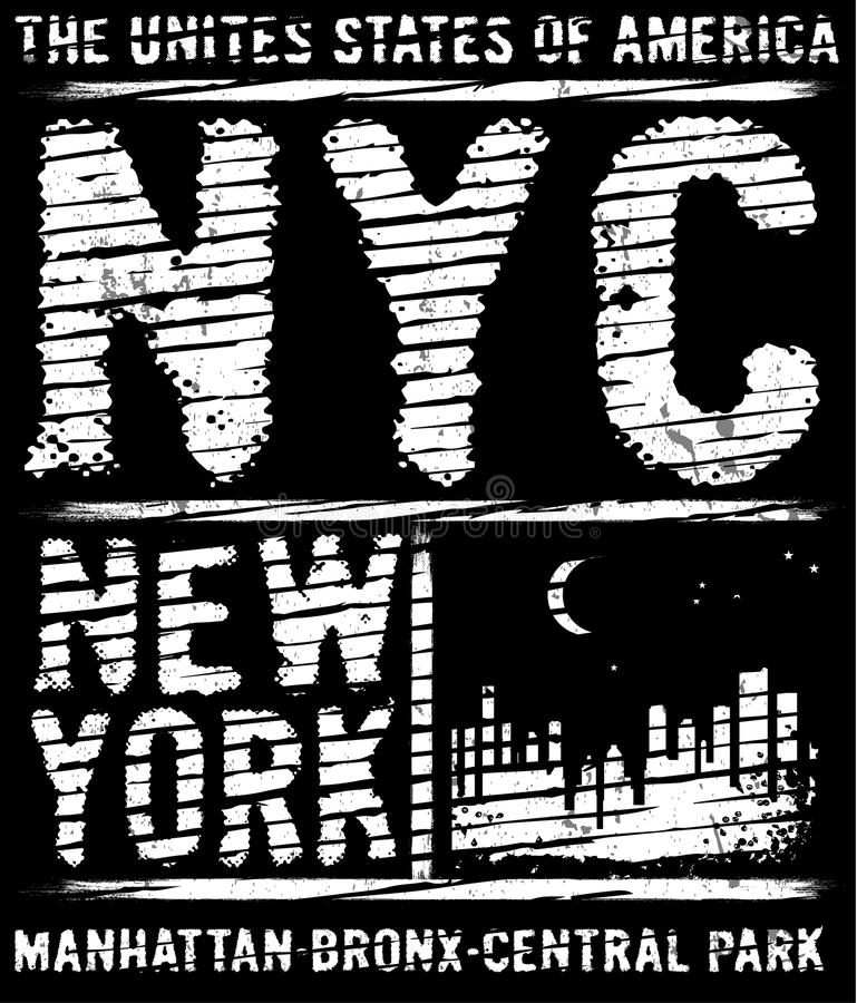 Tipografia de New York City, slogan, gráficos do t-shirt, vetores, ilustração royalty free