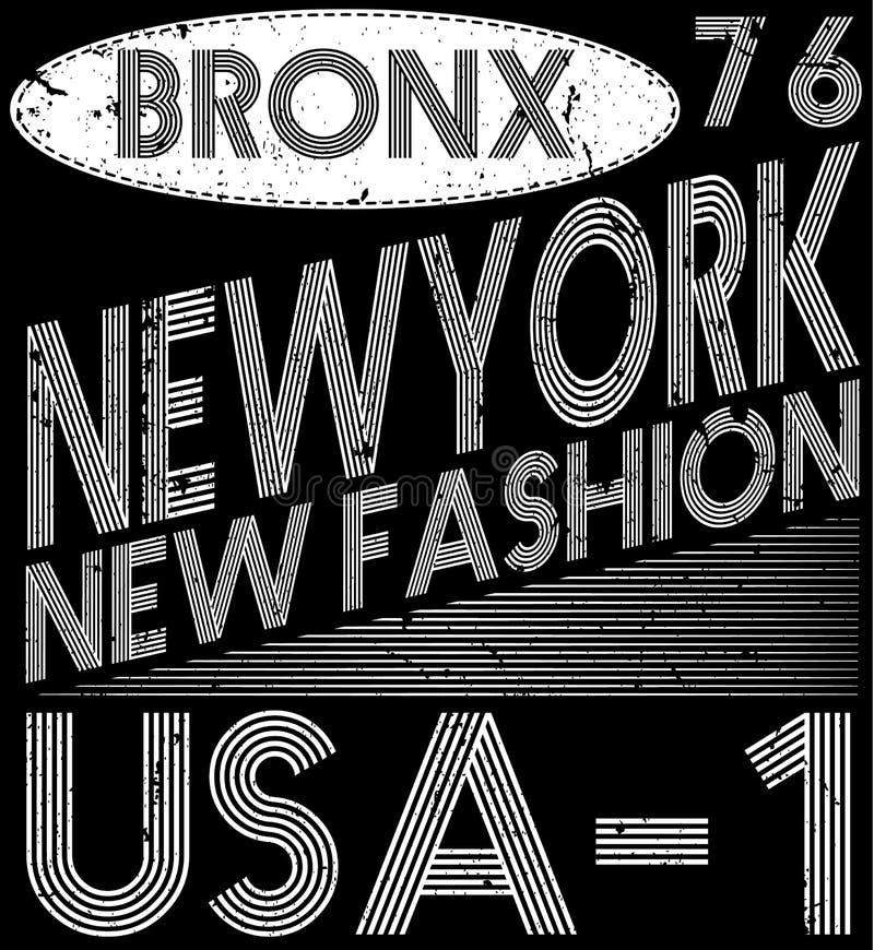 Tipografia de New York City, slogan, gráficos do t-shirt, vetores, ilustração stock