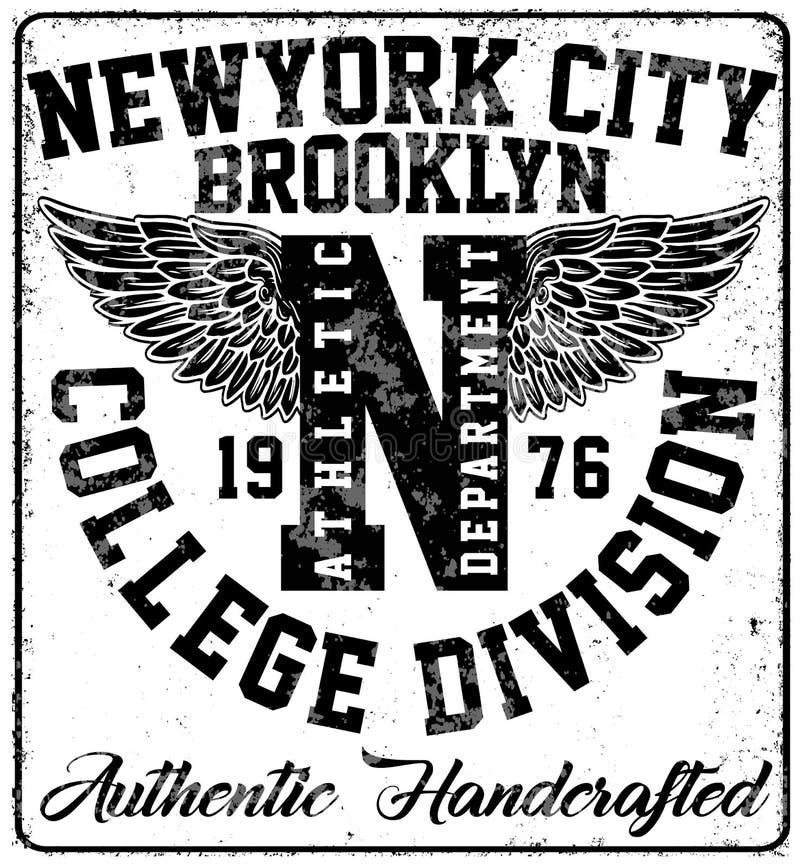 Tipografia de New York da faculdade, gráficos do t-shirt ilustração stock