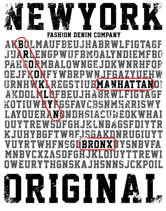 Tipografia de New York da faculdade, gráficos do t-shirt ilustração royalty free