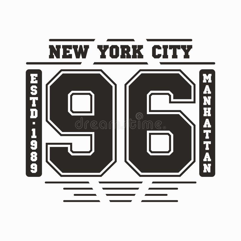 Tipografia de New York, Manhattan Gráficos do t-shirt ilustração do vetor