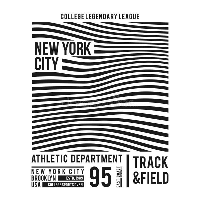 Tipografia de New York para a cópia do t-shirt Linhas abstratas com texto para gráficos modernos do t-shirt no estilo do time do  ilustração royalty free