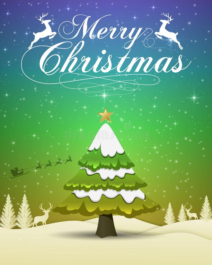Tipografia 2019 del buon anno e di Buon Natale su fondo blu e verde illustrazione vettoriale