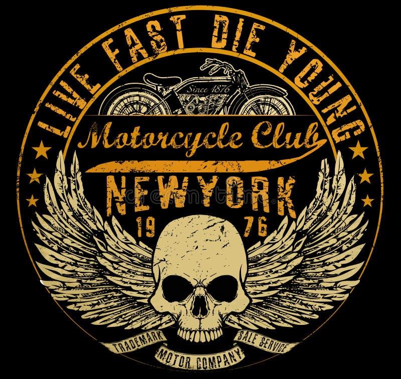 Tipografia del motociclo, grafici della maglietta, vettori illustrazione di stock