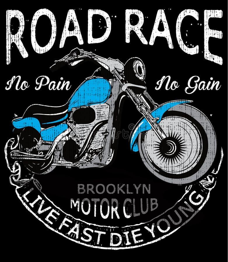 Tipografia del motociclo, motore d'annata, grafici della maglietta, vettori illustrazione vettoriale