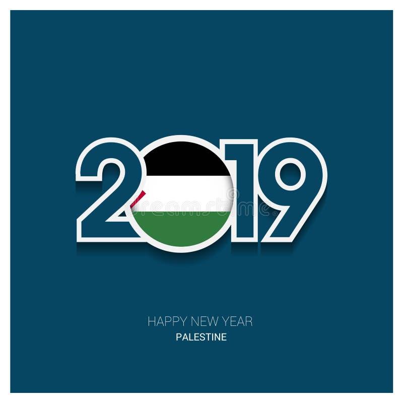 2019 tipografia della Palestina, fondo del buon anno illustrazione vettoriale