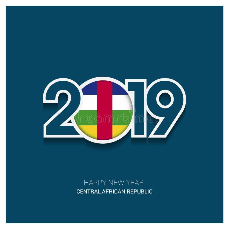 2019 tipografia della Repubblica centroafricana, buon anno Backgro illustrazione di stock