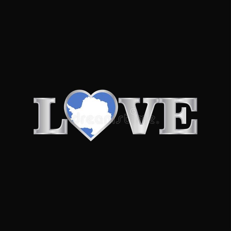 Tipografia di amore con il vettore di progettazione della bandiera dell'Antartide illustrazione di stock