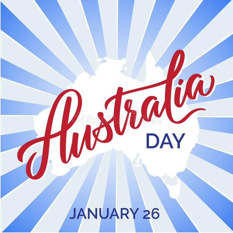 Tipografia di giorno dell'Australia, iscrizione Vettore del testo della spazzola di arte di parola fotografie stock