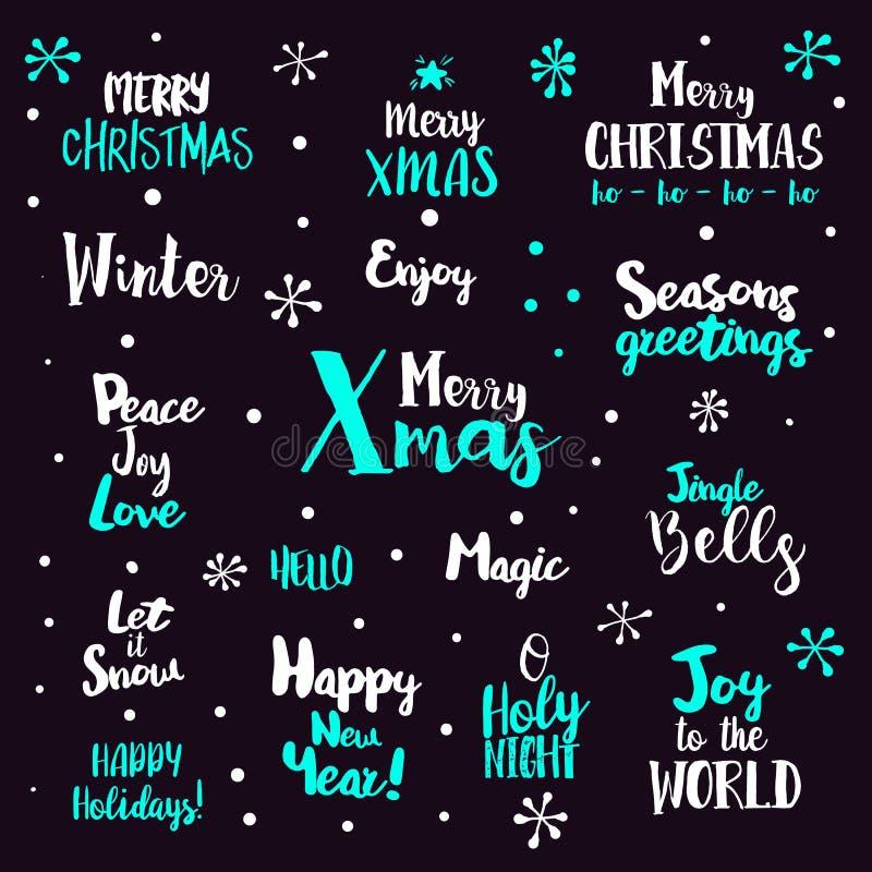 Tipografia di Natale fissata su buio illustrazione di stock