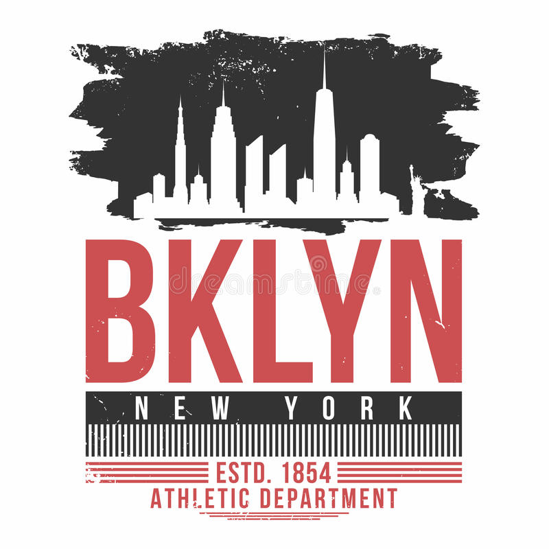 Tipografia di New York, Brooklyn per la stampa della maglietta Grafici della maglietta con la siluetta dell'orizzonte della città illustrazione vettoriale