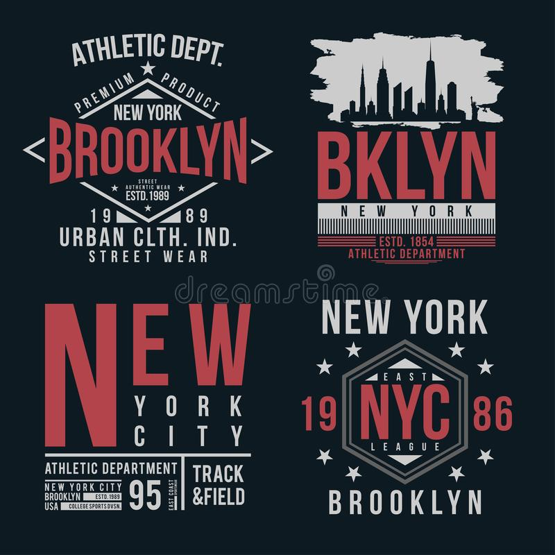 Tipografia di New York, Brooklyn per la stampa della maglietta Insieme d'annata del distintivo per la stampa della maglietta illustrazione vettoriale