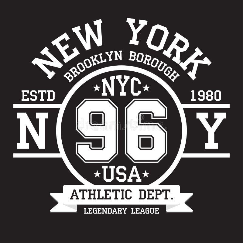Tipografia di New York, Brooklyn per la stampa della maglietta Sport, grafici atletici della maglietta illustrazione vettoriale