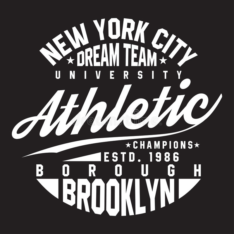 Tipografia di New York, Brooklyn per la stampa della maglietta Sport, grafici atletici della maglietta illustrazione di stock
