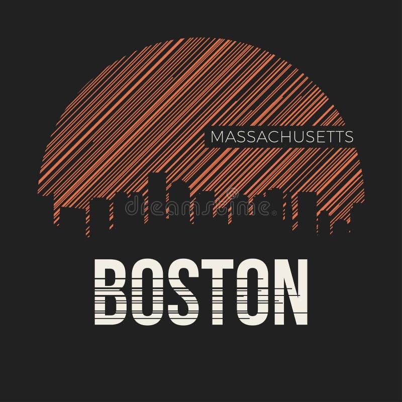 Tipografia di progettazione della maglietta della città di Boston Illustrazione di vettore royalty illustrazione gratis