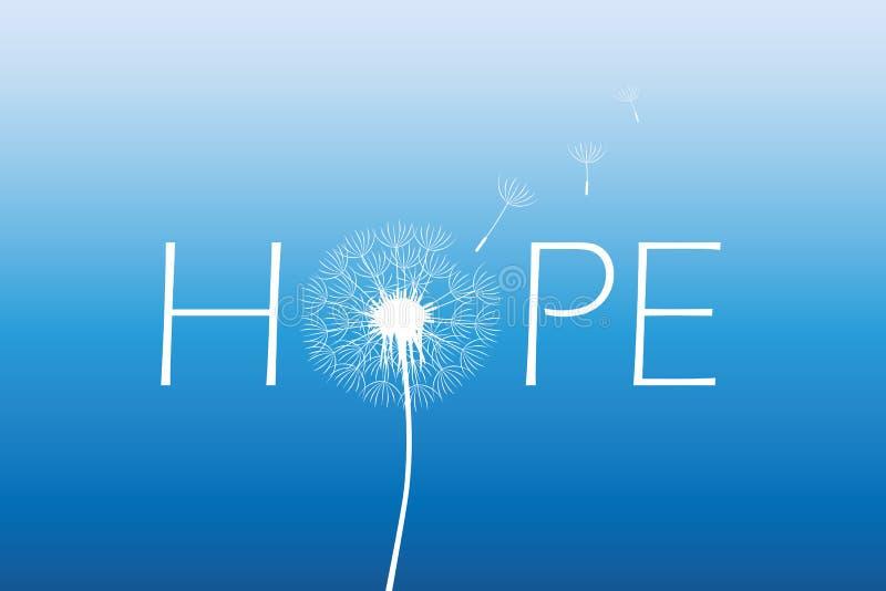 Tipografia di speranza con il dente di leone sul fondo del cielo blu illustrazione di stock