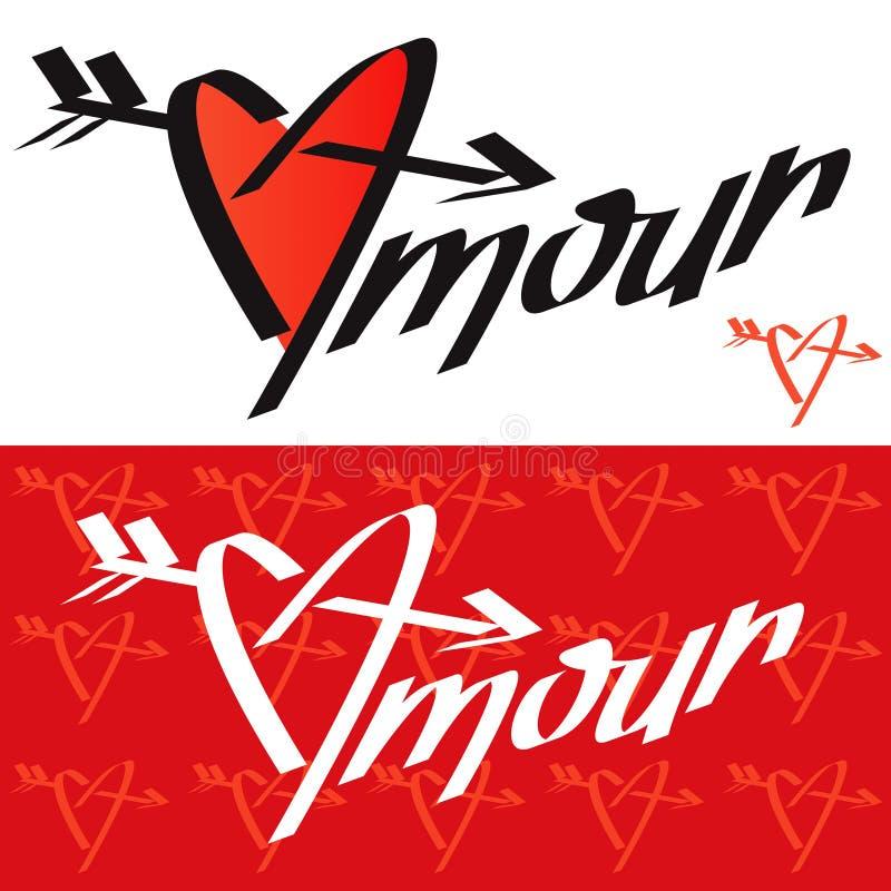 Tipografia di tresca Calligrafia di tresca Tipografia di amore Calligrafia di amore amour Cuore penetrante dall'AR illustrazione vettoriale
