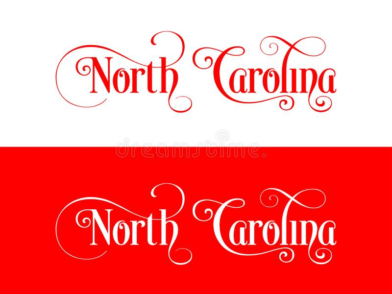 Tipografia Di U.S.A. Carolina States Handwritten Illustration del nord sul funzionario U S Colori dello stato royalty illustrazione gratis