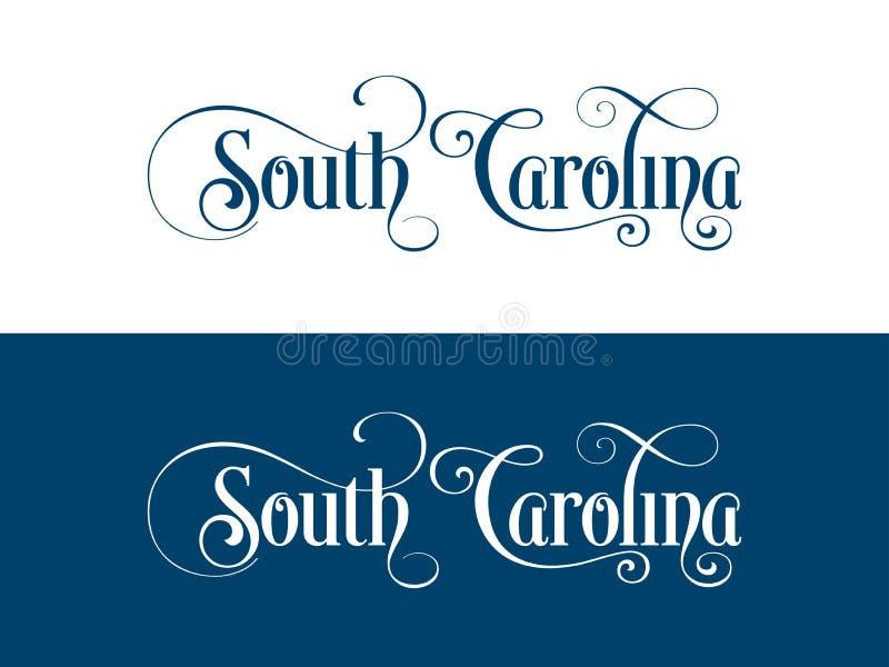 Tipografia Di U.S.A. Carolina States Handwritten Illustration del sud sul funzionario U S Colori dello stato royalty illustrazione gratis