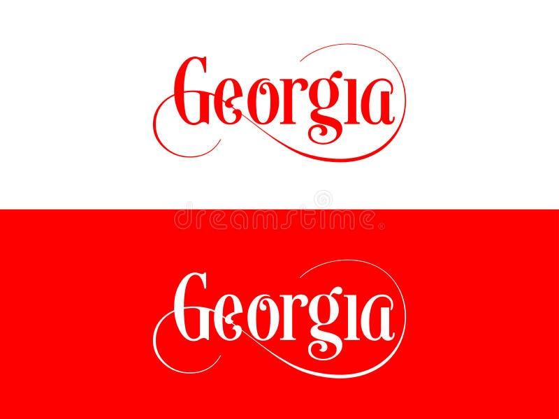 Tipografia Di U.S.A. Georgia States Handwritten Illustration sul funzionario U S Colori dello stato illustrazione vettoriale