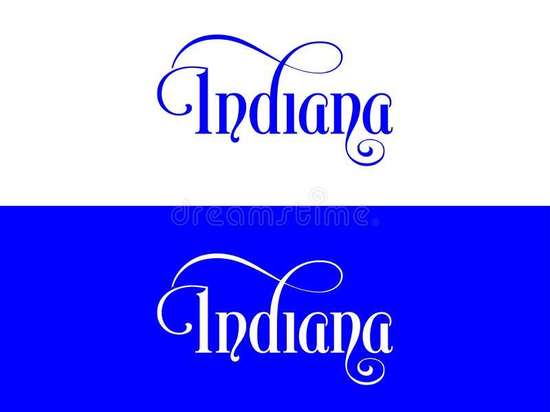 Tipografia Di U.S.A. Indiana States Handwritten Illustration sul funzionario U S Colori dello stato royalty illustrazione gratis