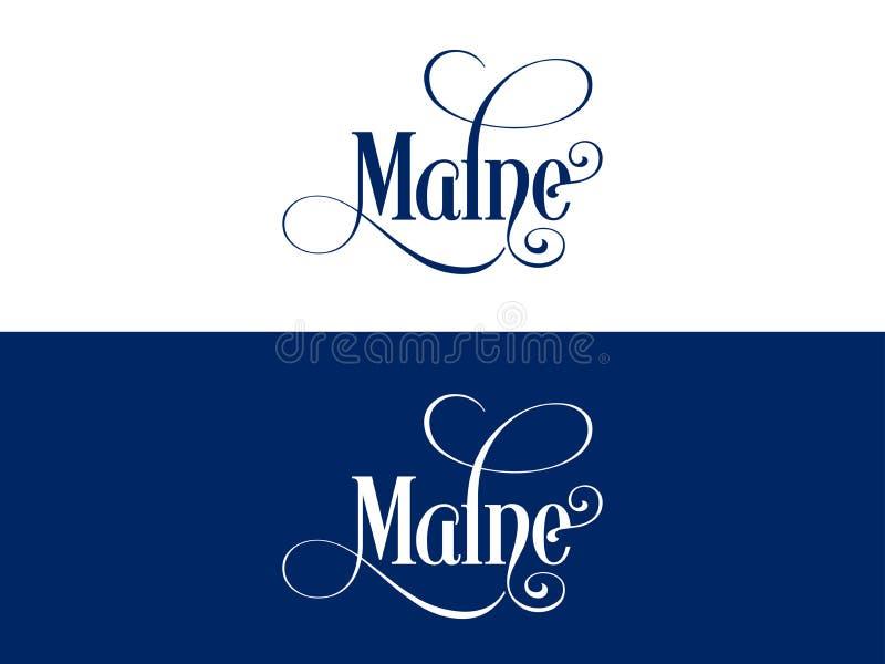 Tipografia Di U.S.A. Maine States Handwritten Illustration sul funzionario U S Colori dello stato royalty illustrazione gratis