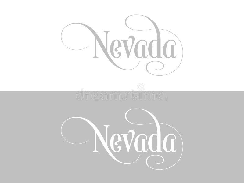 Tipografia Di U.S.A. Nevada States Handwritten Illustration sul funzionario U S Colori dello stato illustrazione vettoriale