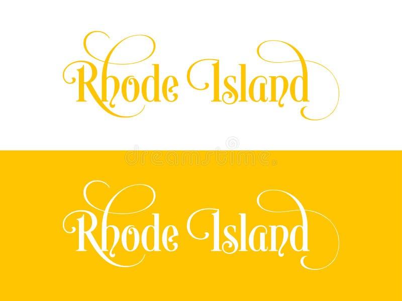 Tipografia Di U.S.A. Rhode Island States Handwritten Illustration sul funzionario U S Colori dello stato illustrazione vettoriale