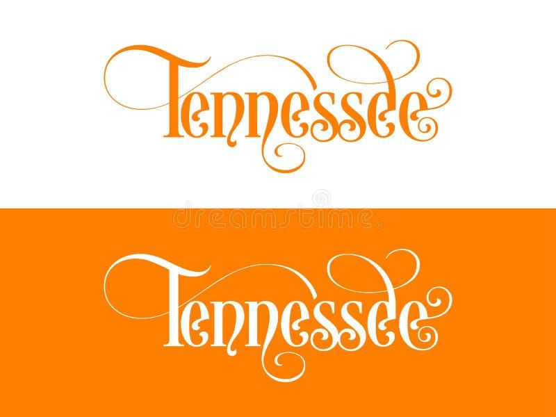 Tipografia Di U.S.A. Tennessee States Handwritten Illustration sul funzionario U S Colori dello stato illustrazione di stock