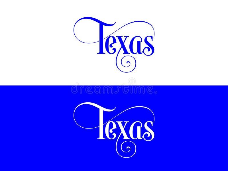 Tipografia Di U.S.A. Texas States Handwritten Illustration sul funzionario U S Colori dello stato illustrazione di stock